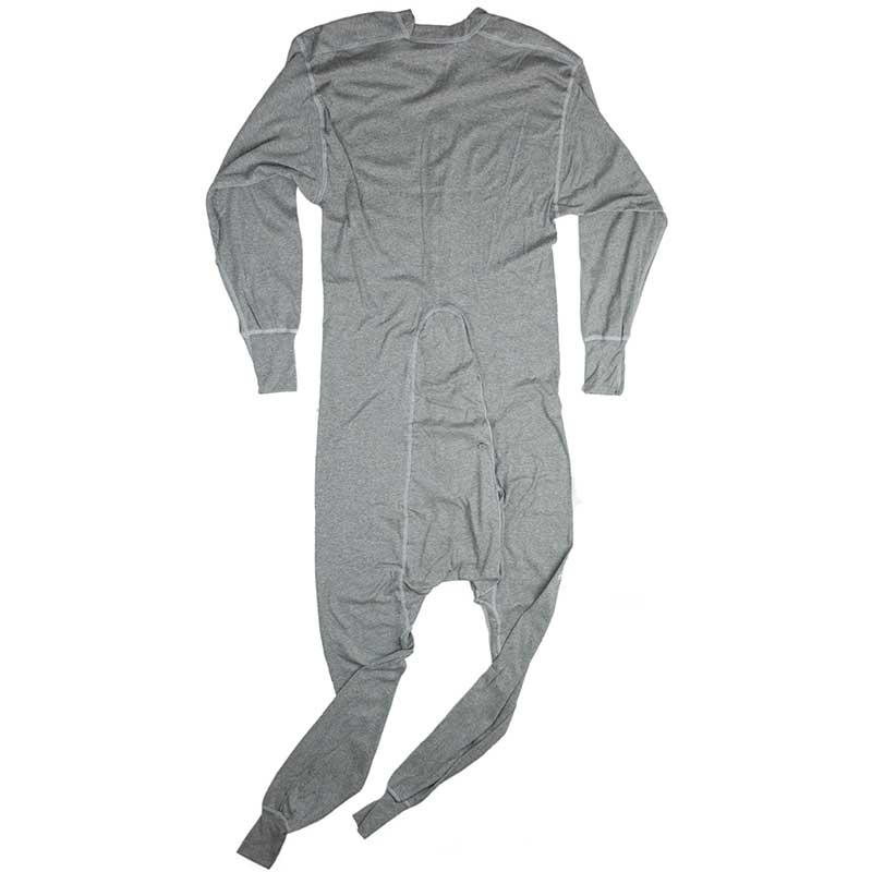 Cotton Union Suit, Gray, Back View