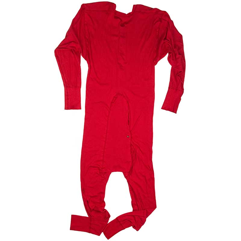 Cotton Union Suit, Red, Back View