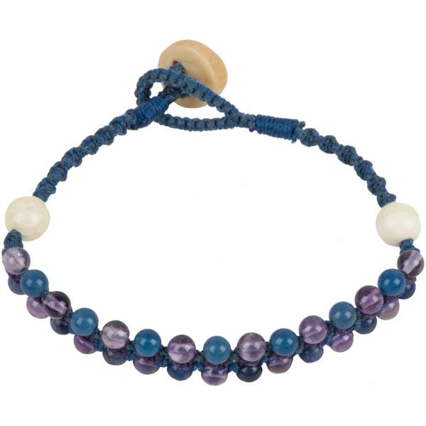 Macrame Bracelet, Ocean Blues, hand crafted by Stathia Annis