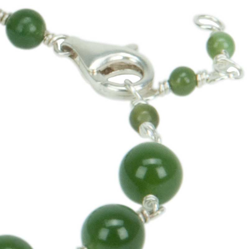 Jade Bracelet by Stathia Annis :  Three rings allow for different length adjustments.