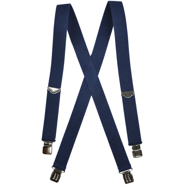 Navy Welch Suspenders, Clip Ends