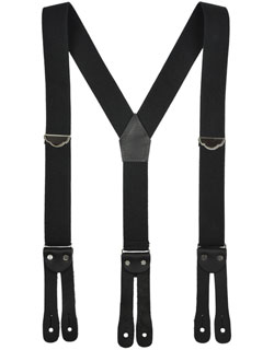 Y Back Suspenders, Flat Leather Ends