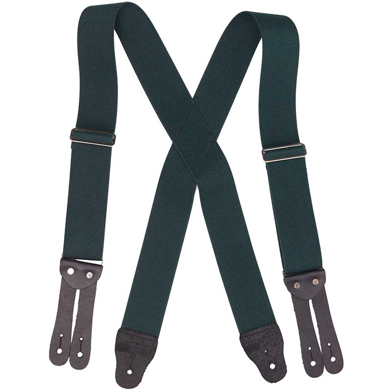 Green HopSack Suspenders, Flat Leather Ends