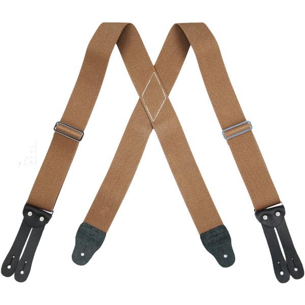 Tan HopSack Suspenders, Flat Leather Ends