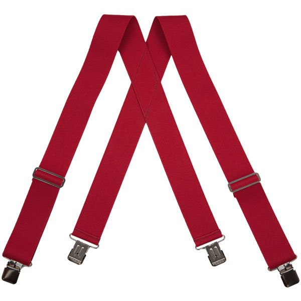 Red HopSack Suspenders, Clip Ends