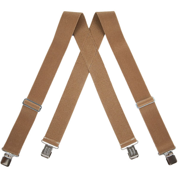 Tan HopSack Suspenders, Clip Ends
