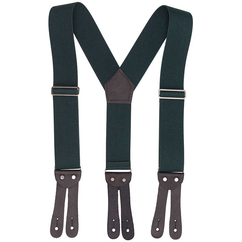 'Y' Back HopSack Suspenders by Welch, Green