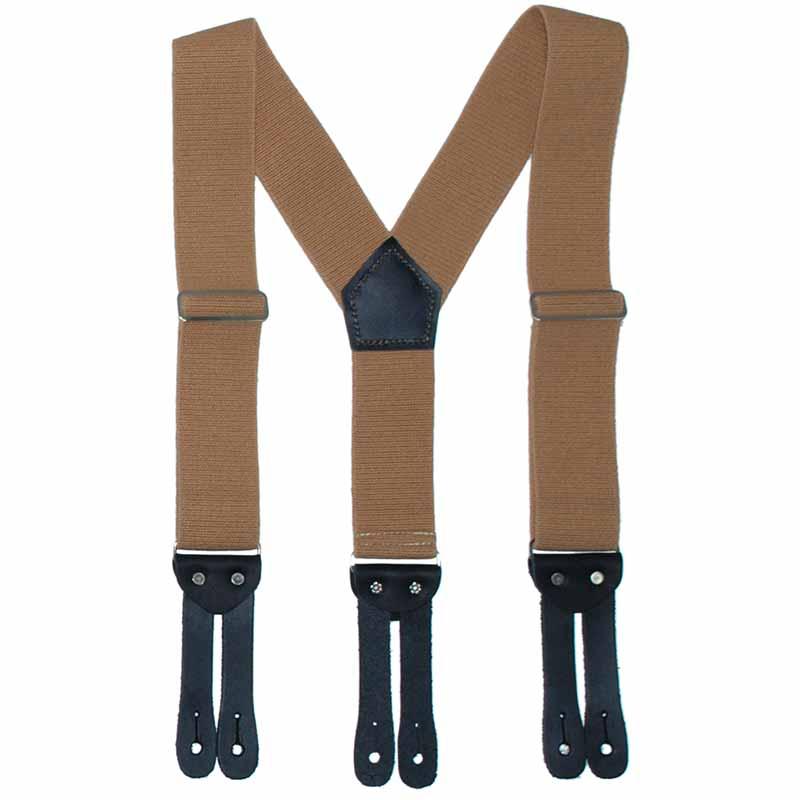 'Y' Back HopSack Suspenders by Welch, Tan