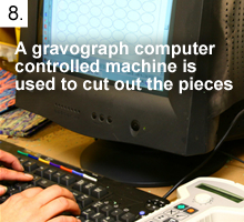 A gravograph computer controlled machine is used to cut out the pieces.