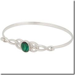 Heathergems Bangle Bracelet w/Triskele, Sterling Silver