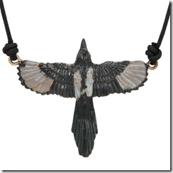 3-D Magpie Pendant with Cord