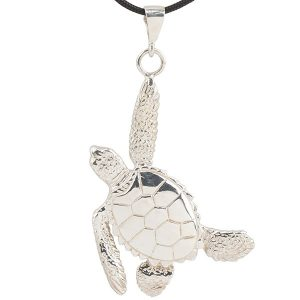 Sea Turtle Pendant, Sterling Silver. Designed by Cavin Richie, made in USA.